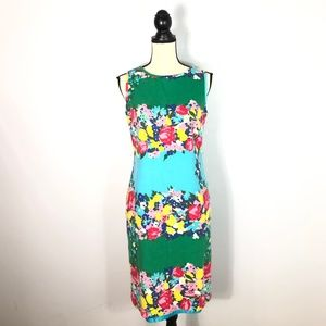 Talbots Textured Green Floral Sheath Dress- 10
